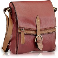 Phive Rivers Genuine Leather : Dita_pr539 Medium Sling Bag - Red Gang-Brown Gang