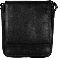 Scharf Men Black Genuine Leather Sling Bag