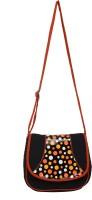 Anekaant Women Casual Black, Orange Cotton, PU Sling Bag