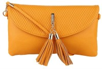 Lino Perros Women Casual Orange Leatherette Sling Bag