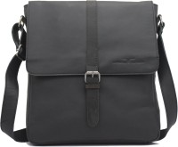 Urban Forest Men Casual Black Genuine Leather Sling Bag