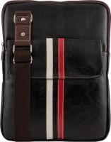 Unixx Men Casual Black, White, Red Genuine Leather Sling Bag