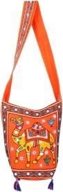 Rajrang Women Orange Cotton Sling Bag