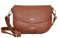 Taws Women Formal Brown Genuine Leather Sling Bag
