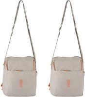 Heels & Handles Women Casual Beige Nylon Sling Bag
