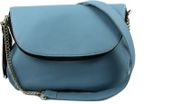 Shimmer Shoes Women Casual Blue Leatherette Sling Bag