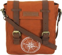 The House Of Tara Men, Women Tan Canvas, Genuine Leather Messenger Bag