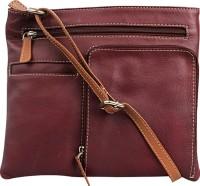 Hunt Women Casual Maroon Genuine Leather Sling Bag