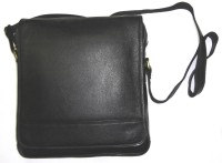 Starco Men, Women Black Genuine Leather Sling Bag