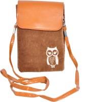 FabSeasons Women Casual Brown Velvet Sling Bag