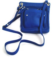 Modish Genuine Calf Leather Small Sling Bag - Blue