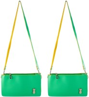 Heels & Handles Women Green Leatherette Sling Bag