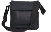 Taws Men Casual Black Genuine Leather Sling Bag