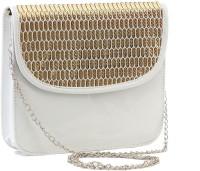 Felicita Women, Girls Casual, Festive, Evening/Party White, Gold PU Sling Bag