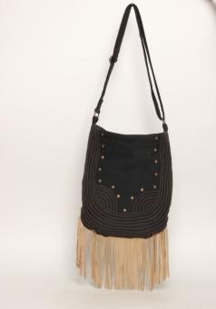 The House Of Tara Distressed Finish Sling 011 Medium Sling Bag - Black, Brown