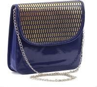 Felicita Women, Girls Casual, Festive, Evening/Party Blue, Gold PU Sling Bag