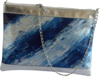 Demure Women Casual Blue, Silver Canvas, Rexine Sling Bag