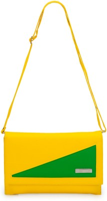 Frosty Fashion Women Casual Yellow, Green PU Sling Bag