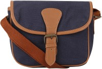 Johri's Women Blue, Brown Canvas, PU Sling Bag
