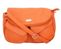Yelloe Girls Casual Orange Genuine Leather Sling Bag