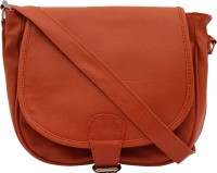 ANICKS Girls Orange Genuine Leather Sling Bag