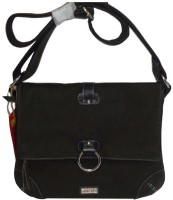 Kan Women Black Genuine Leather Sling Bag