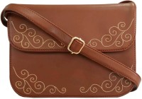 Toteteca Bag Works Women Brown Leatherette Sling Bag