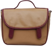 La Volsa Women Casual Beige Genuine Leather Sling Bag