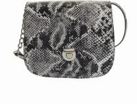 Peaubella Women, Girls Casual Black, White Genuine Leather Sling Bag