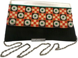 Bhamini Pleated Raw Medium Sling Bag - Black-01
