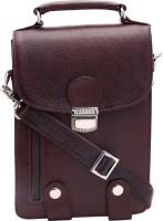 American-Elm Men Casual Maroon Genuine Leather Sling Bag