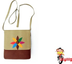 Tripssy Women, Girls Casual, Festive Khaki, Brown Leatherette Sling Bag