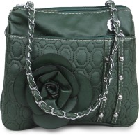Star Style Women Green Leatherette Sling Bag