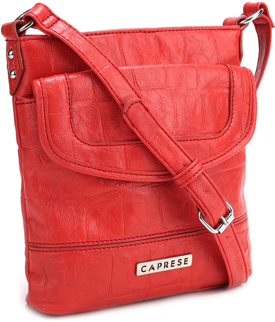 Gym Bag Flipkart: Caprese Women Casual Red PU Sling Bag Coral