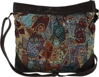 Anekaant Women, Girls Casual Brown, Multicolor Polyester, Cotton, PU Sling Bag