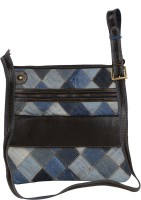 Hibiscus Women Casual Brown, Blue Genuine Leather, Denim Sling Bag