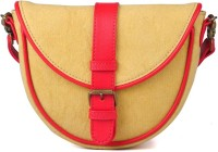 Goguava Women Casual Beige Genuine Leather, Canvas Sling Bag