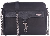 Justanned Trendy Leather Small Sling Bag - JTWB 025 -2 Black