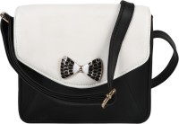 Berrypeckers Women Casual Black, White PU Sling Bag