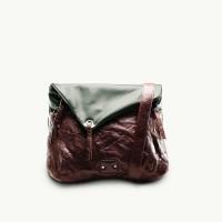 TWACH Wrinkled Globetrotter Medium Sling Bag - Green Brown