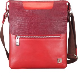 Adamis Men Red Genuine Leather Sling Bag
