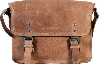 Urban Forest Men, Women Casual Beige Genuine Leather Sling Bag for ...