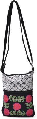 Pick Pocket White Emb Small Medium Sling Bag - Black