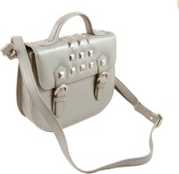 Claude Lorrain Leather Studded Sling Bag - Silver