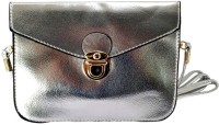 Gift Island Girls Casual Silver Leatherette Sling Bag