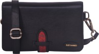 Justanned Women's Leather Sling Bag - Black, Red - SLBEYHHUYDMCQBCN