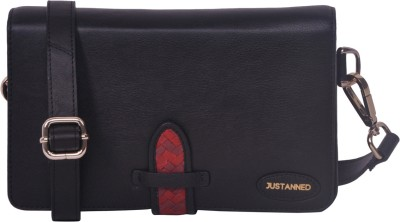 Justanned Women's Leather Sling Bag - Black, Red - SLBEYHHUYDMCQBCN