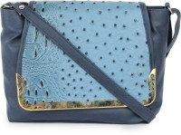 Star Style Women Casual Blue Leatherette Sling Bag