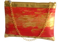 Demure Women Casual Red, Gold Canvas, PU Sling Bag