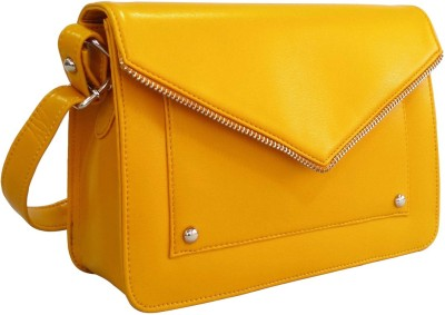 Toteteca Bag Works Women Yellow Leatherette Sling Bag